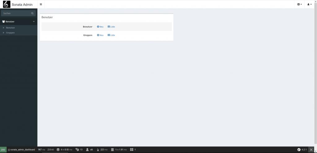 Screenshot Sonata Admin Bundle Backend